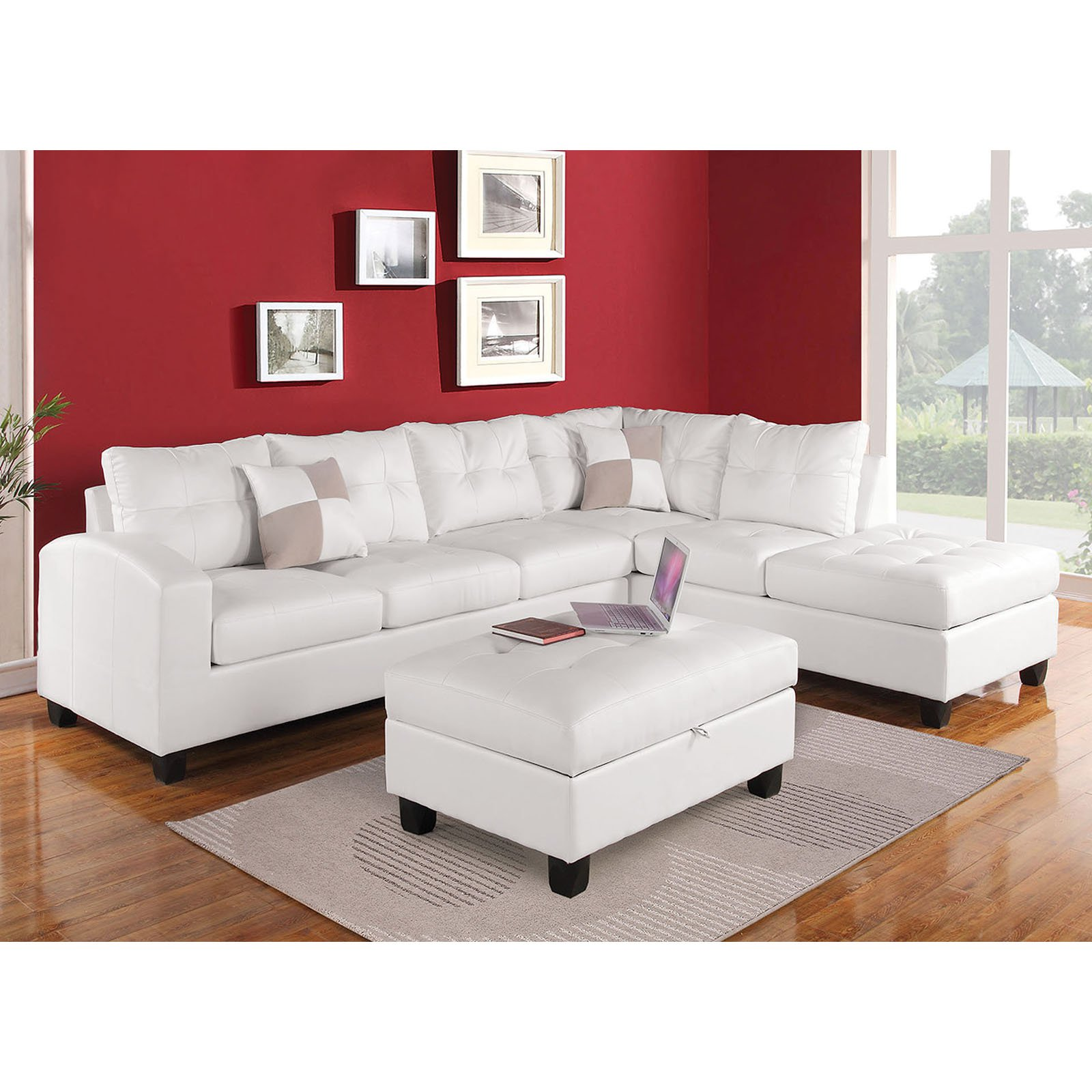 Miraculous Acme Furniture Kiva Sectional Sofa With Reversible Pillows Dailytribune Chair Design For Home Dailytribuneorg