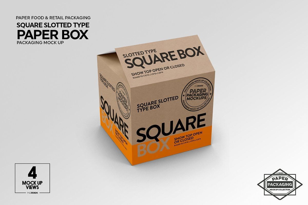 Download Square Slotted Type Paper Box Mockup Paper Box Box Mockup Free Packaging Mockup