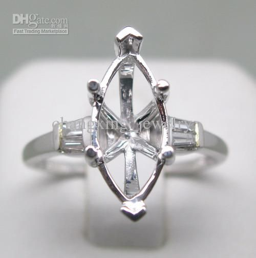 MARQUISE SOLID 14K WHITE GOLD NATURAL DIAMOND WEDDING ENGAGEMENT SETTING SEMI RING MOUNT G090504 Online with $311.76/Piece on Changxing_jewelry's Store | DHgate.com