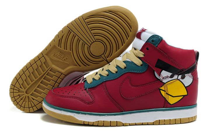 Red Angry Birds Nike Dunk Shoes Cartoon High Tops