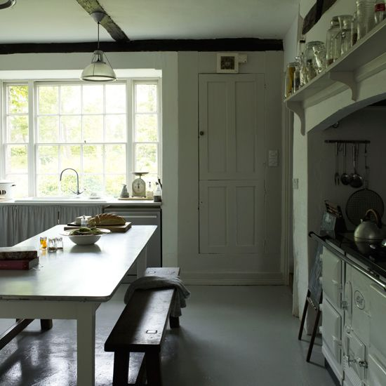 Kitchen Cupboard in F&B Cornforth White | Cosy Georgian cottage house tour