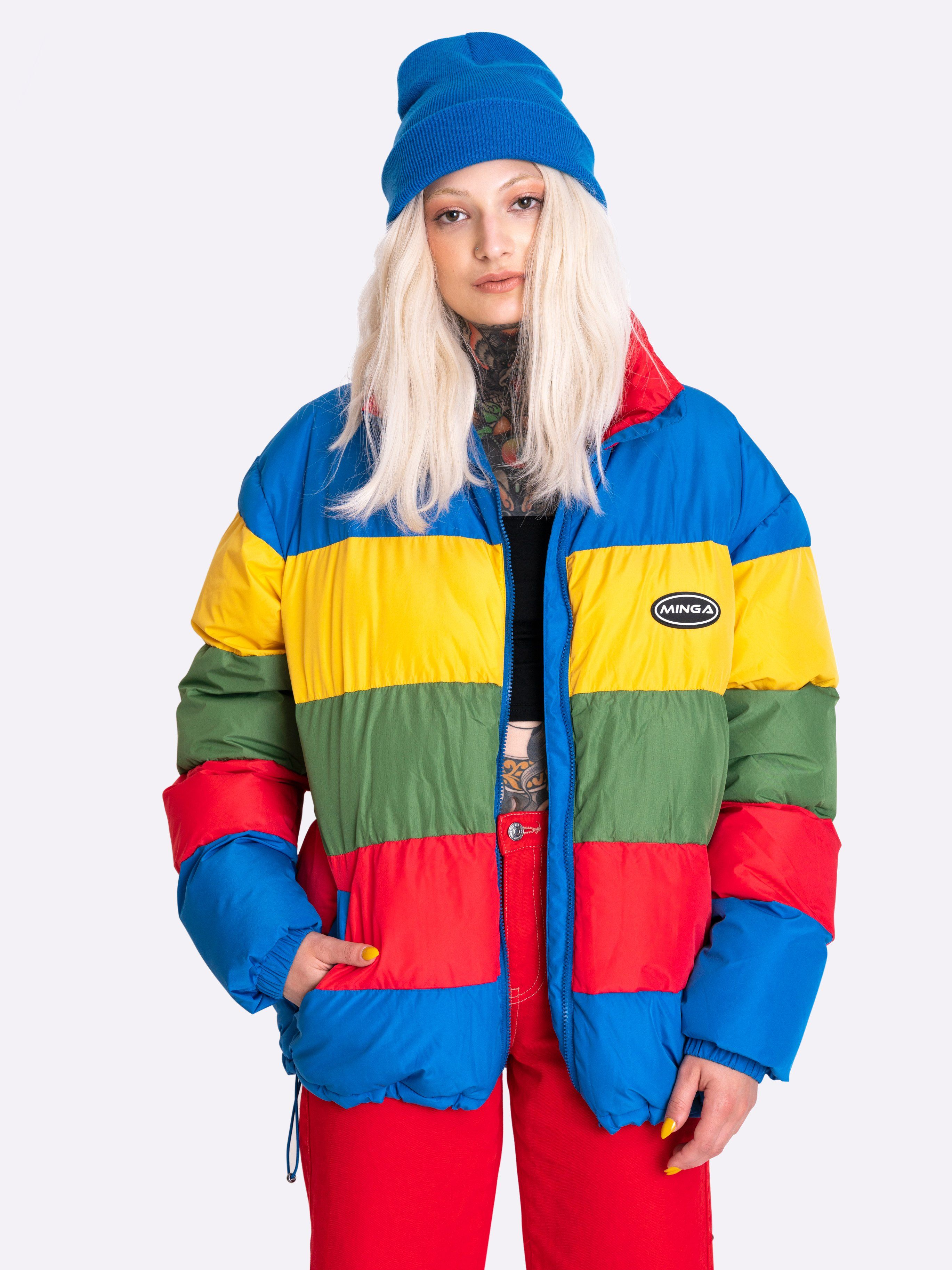 Rainbow Puffer Jacket Denim Joggers Outfit Puffer Jacket Outfit Retro Outfits [ 3651 x 2738 Pixel ]