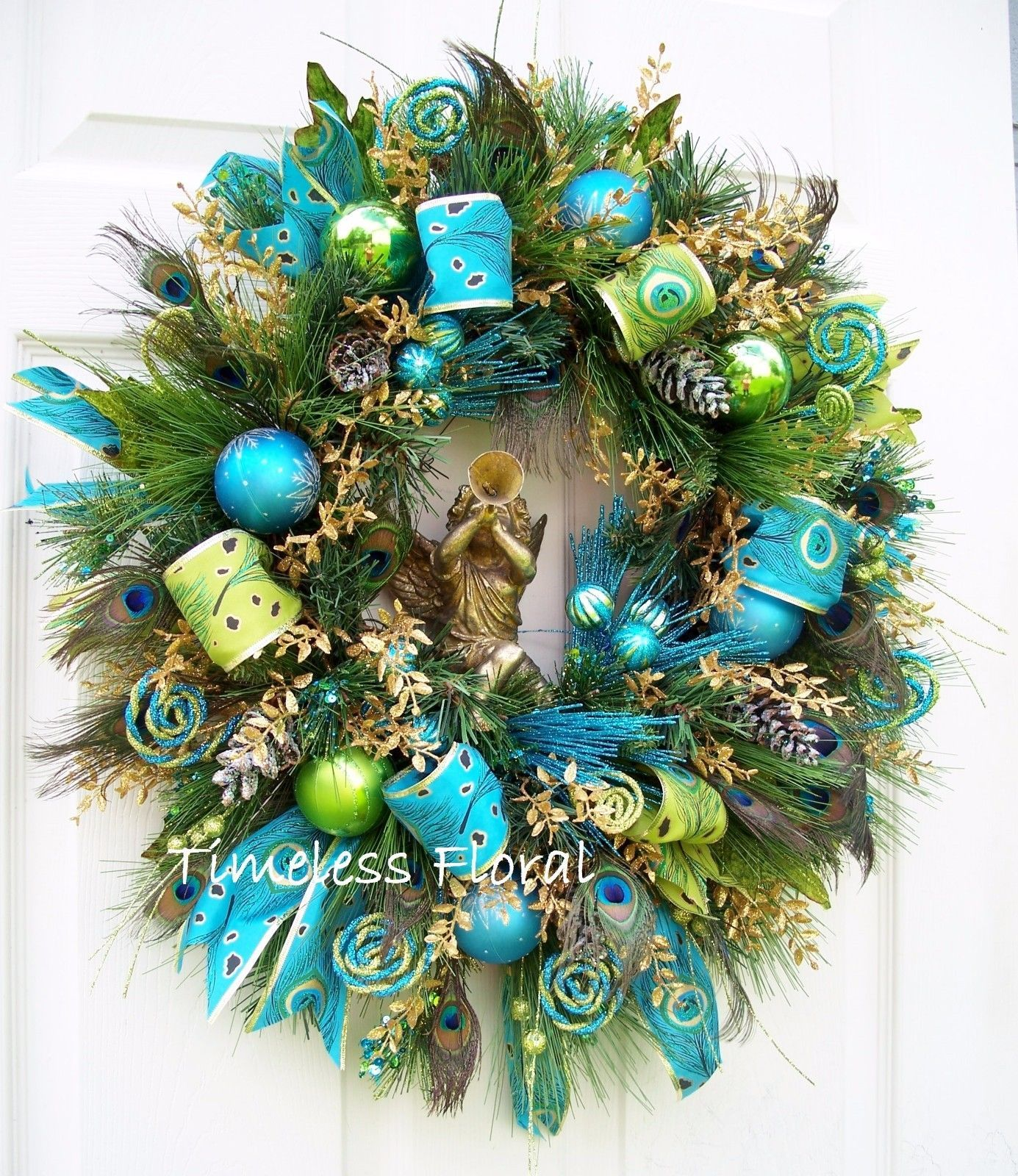 Peacock Wreath Feathers Cherub Blue Gold Green Christmas Decoration Holiday