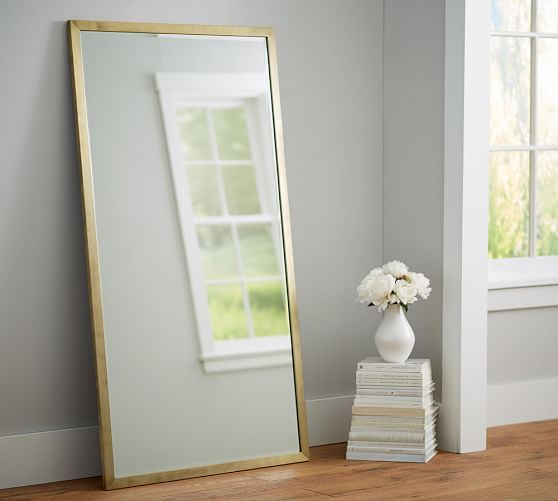 "Studio Floor Mirror, 36 x 66"", Brass 