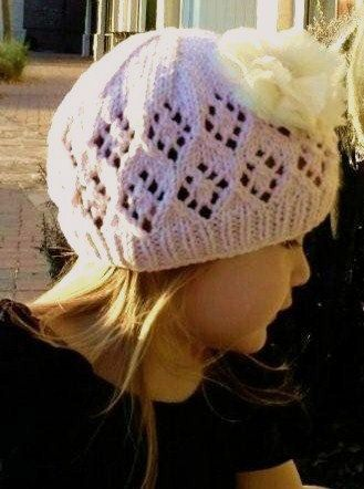 Knitting Pattern Girls Lace Beaniegirls Openwork Hat Girls