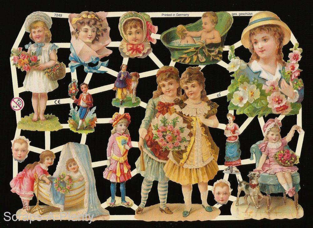 German Victorian Style Embossed Scrap Die Cut School Children  CUTE   EF7282