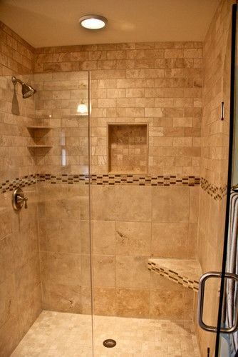 Natural stone walk in shower traditional bathroom | Project Ideas ...