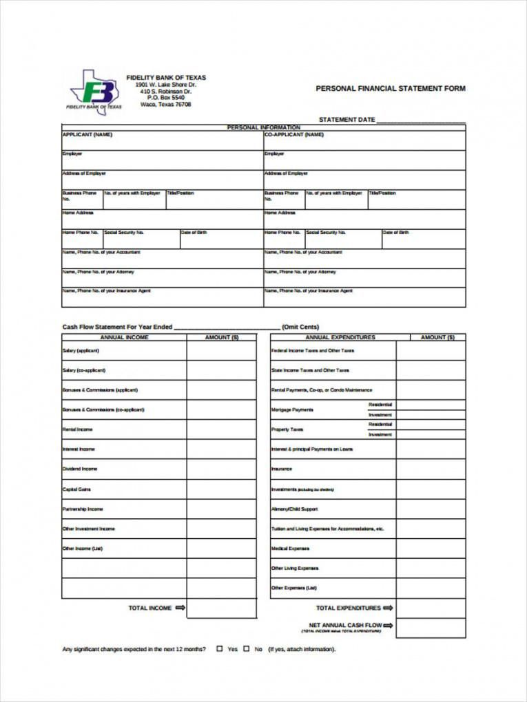 Browse Our Example Of Generic Personal Financial Statement Template Personal Financial Statement Statement Template Financial Statement