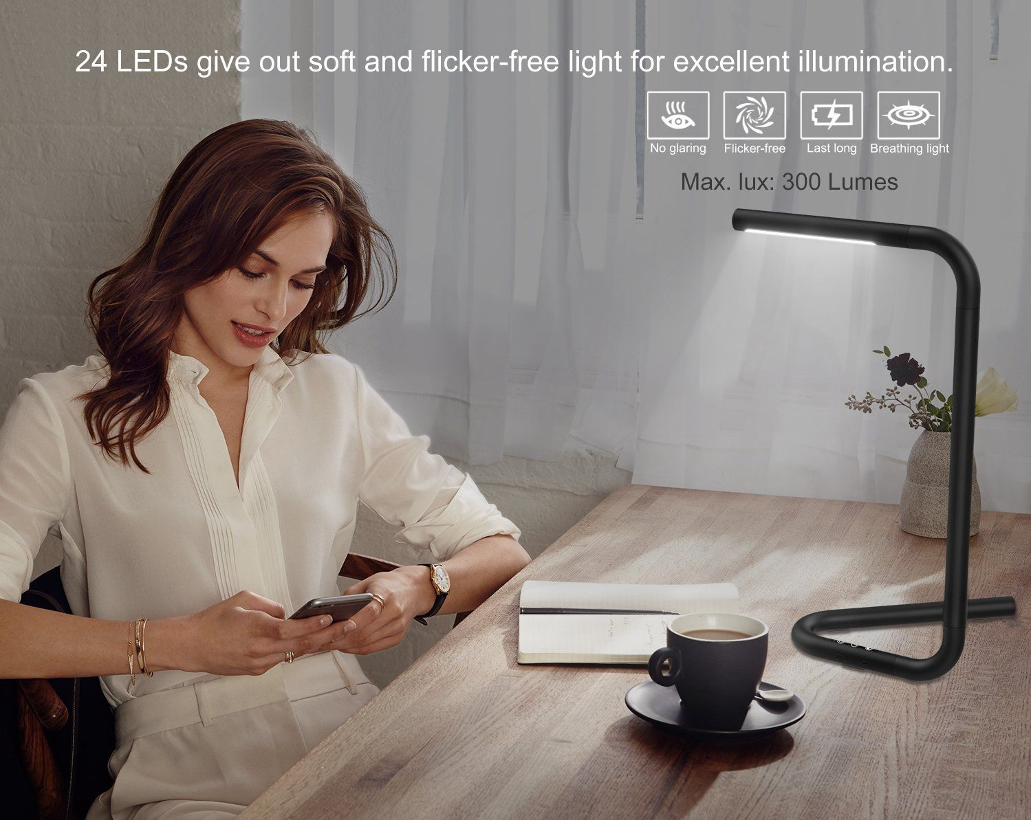 Memory Function Stepless Brightness//Color Temperature 4.5W Cordless Portable Modern Table Lamp with 4400mAh Rechargeable Battery for Office and Home Touch Control MoKo LED Desk Lamp Black