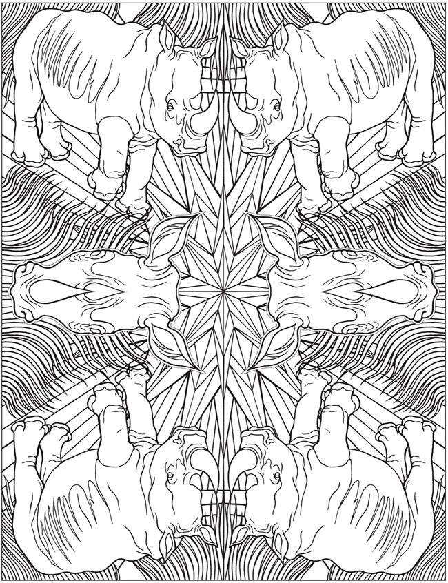 Animal Kaleidoscope Designs Coloring Book | Dover ...