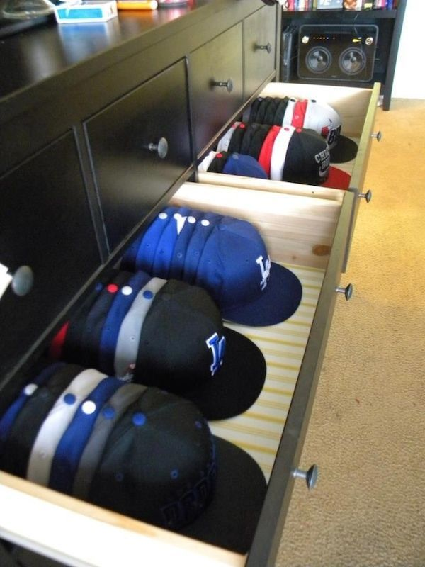 18 Hat Organizing Ideas For Summer // closet & wardrobe storage // store  baseball caps in dresser drawers Ms