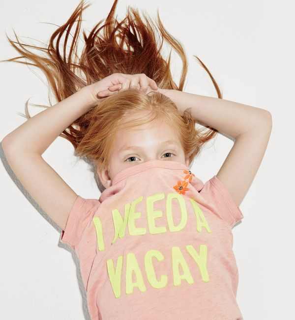 """J.Crew girls' """"I need a vacay"""" T-shirt. To pre-order, call 800 261 7422 or email verypersonalstylist@jcrew.com."""