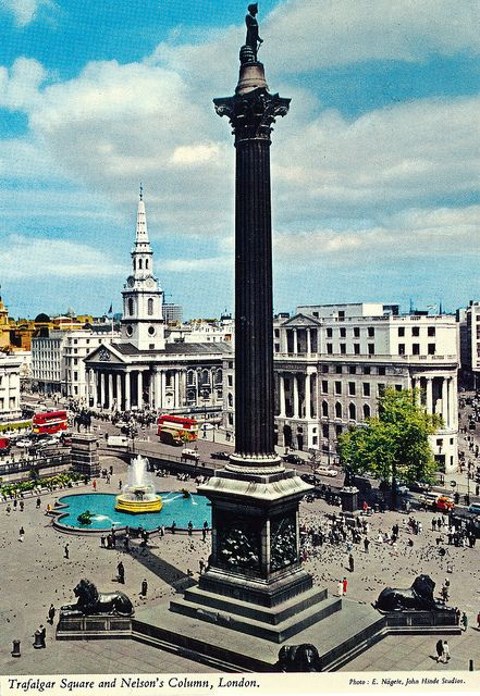 Trafalgar Square And Nelson S Column London Been Here Too We Climbed On That Lion All The Way To The Right And Took Pi London Postcard Vintage London London
