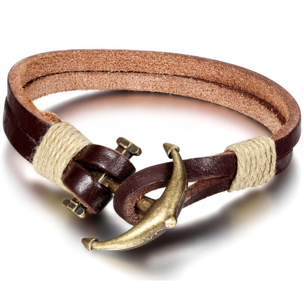 Brown Anchor Bracelet Mens Fashion Accessories 2015