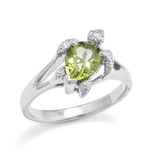 Turtle Ring With Peridot In 14k White Gold 10mm In 2019
