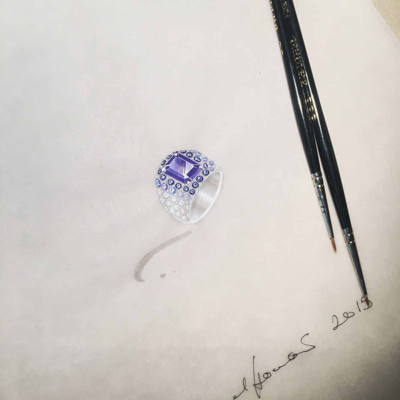 Jewellery render in gouache for a bombé style ring in sapphires and diamonds