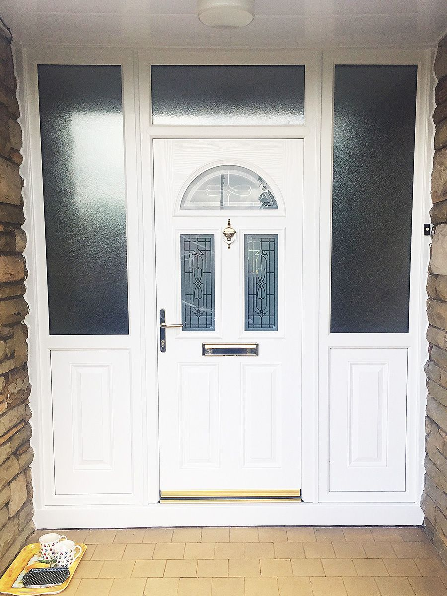 ... 3 door design with arched moon glass panel top with two rectangular glass panels beneath complete matching white composite side panels \u0026 Pilkington ... & Stunning White Bannock burn 3 door design with arched moon glass ...