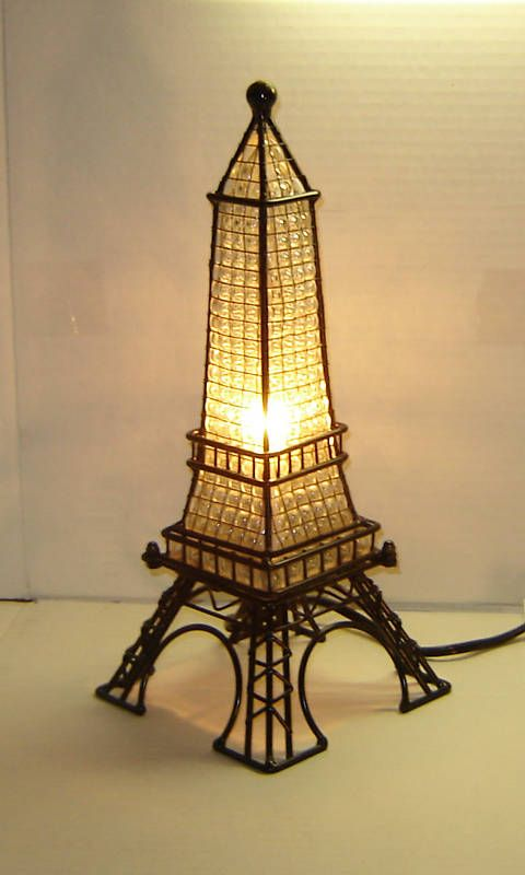 eiffel tower france paris style stained glass lamp gift. Black Bedroom Furniture Sets. Home Design Ideas