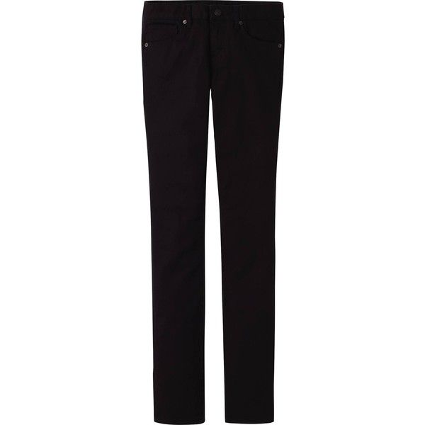 UNIQLO Women Color Skinny Fit Straight Jeans ($5.90) ❤ liked on Polyvore featuring jeans, black, skinny straight leg jeans, skinny jeans, skinny leg jeans, straight leg jeans and stretchy jeans