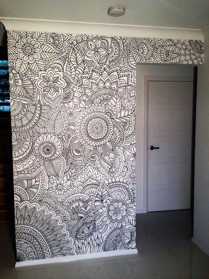 A wall for coloring!! Have every person that comes in color a little until it's complete?! :D sooo fun