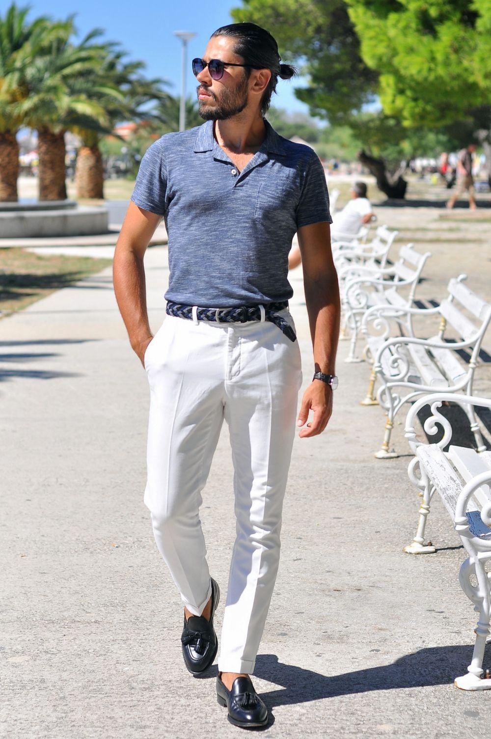 Niebieskie Polo I Biale Spodnie Outdersen Meska Moda I Styl Mens Tops Mens Tshirts T Shirt
