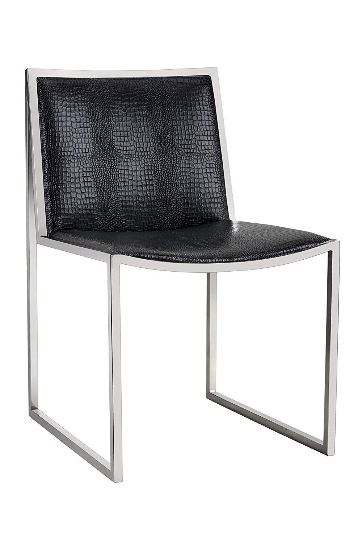 Sunpan modern blair crocodile pattern dining chair set of 2 black