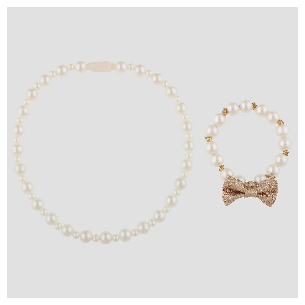 Classy cute and fit for your little one the Pearl Necklace and Bracelet Set from Cat and Jack is an adorable addition to her little collection. The set includes a white pearl necklace and a white pearl bracelet that showcases gold rope detailing and a sparkly gold bow. Shell love wearing this set with both her fancy dresses and everyday play wear because pearls go with everything. Gender: Female. Age Group: Toddler. Patt cute and fit for your little one  the Pearl Necklace and Bracelet Set from Cat and Jack is an adorable addition to her little collection. The set includes a white pearl necklace and a white pearl bracelet that showcases gold rope detailing and a sparkly gold bow. Shell love wearing this set with both her fancy dresses a...