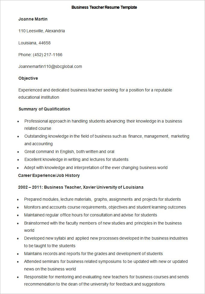 Business Resumes Template Sample Business Teacher Resume Template  How To Make A Good
