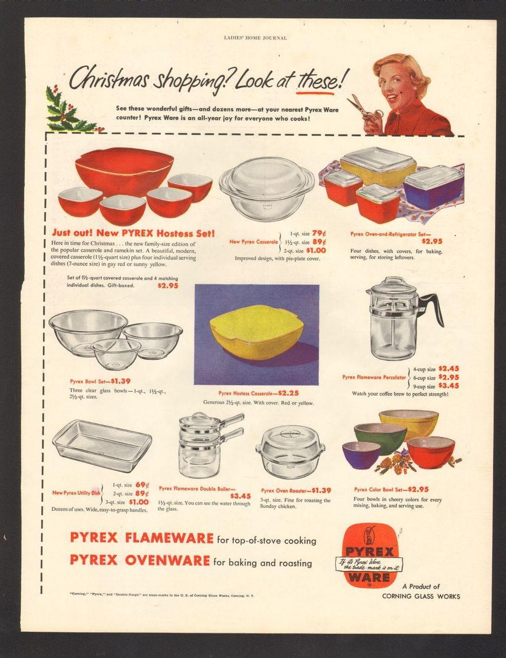Advintage Plus 1950 Print Advertisement Pyrex Flameware