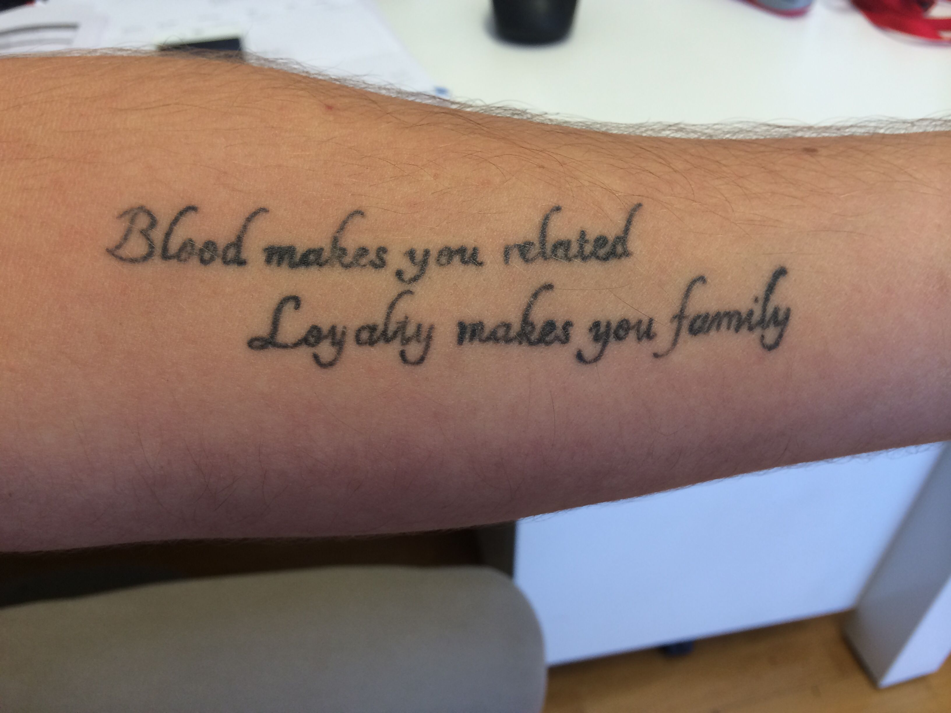 Loyalty / Family tattoo - wonderful !! Blood makes you ...