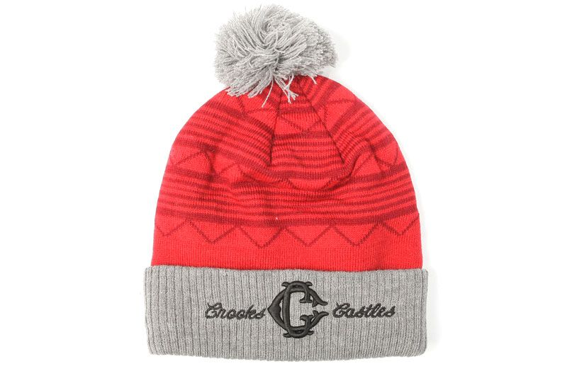 CROOKS AND CASTLES | MENS KNIT BEANIE  APACHE | TRUE RED/HEATHER | $35.00
