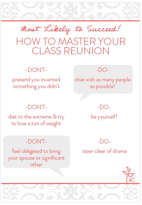 How to master your class reunion high school reunion planning how to master your class reunion stopboris Image collections