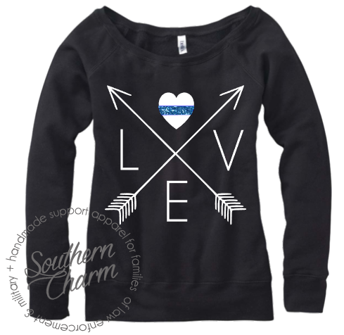Southern Charm Designs - Love Arrow Cross - Thin Blue Line, $45.00 (http://www.shopsoutherncharmdesigns.com/love-arrow-cross-thin-blue-line/)