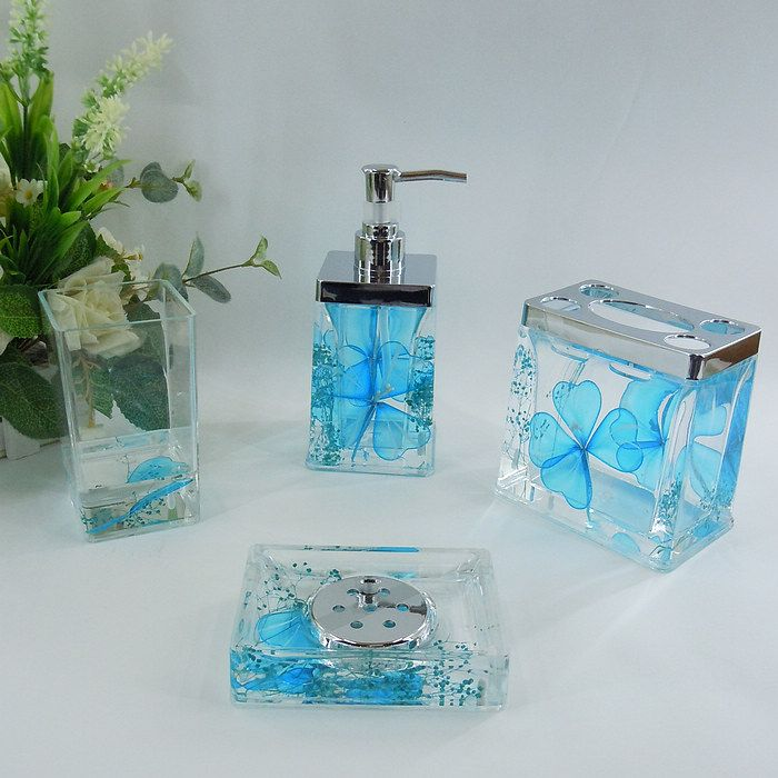 Sky Blue Fl Acrylic Bath Accessory, Light Blue Bathroom Accessories