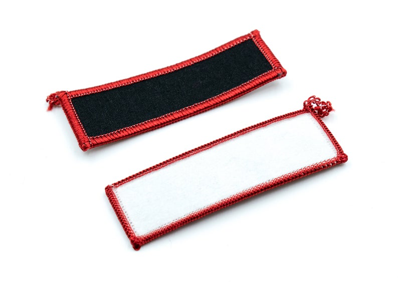 Blank Name Badge 3 Black Rectangle With Red Border Etsy Black Rectangle Name Badges Badge
