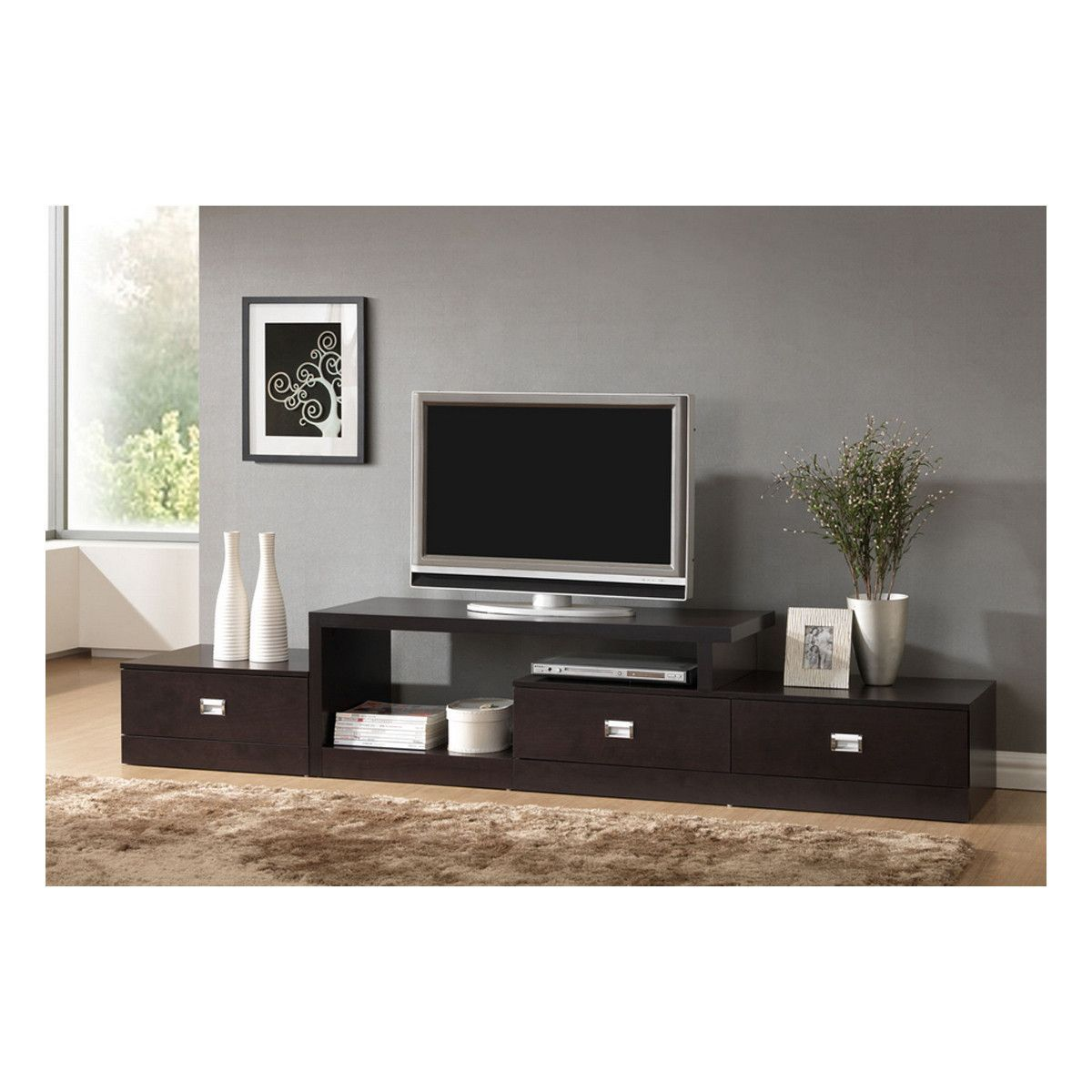 Marconi Brown Asymmetrical Modern Tv Stand Tv Stands Brown And  # Meuble Tv Rocco