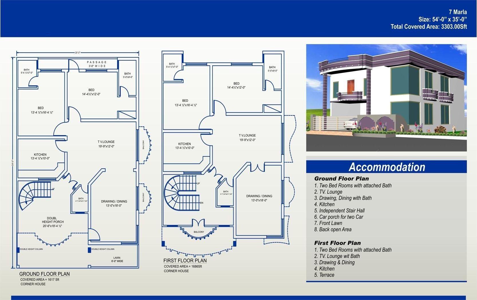 7 Marla House Plan Civil Engineers Pk Throughout Map 8 House Map Home Map Design 10 Marla House Plan