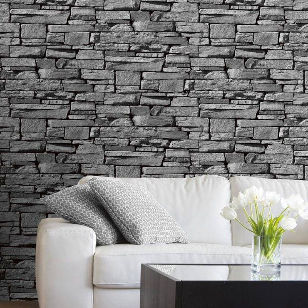Grandeco Wallpaper Dax Stone Grey Lancashire Wallpaper And  # Meuble Tv Stone