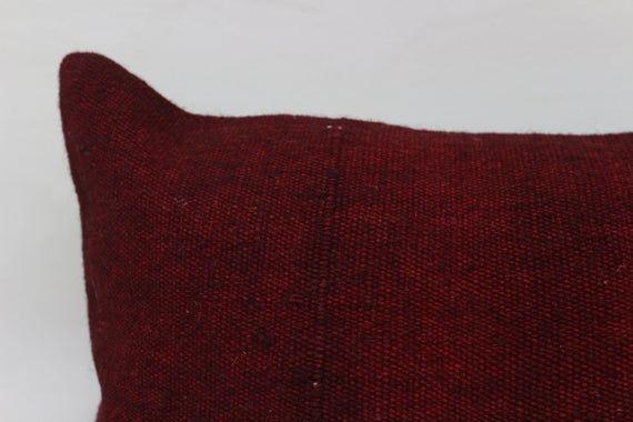Patio Pillow, 16x24 Oriental Kilim Pillow,Neck Pillow, Throw Pillow, Pillow Cover, Red Pillow,Home D