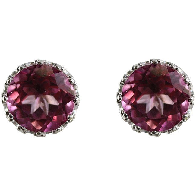 Gioelli Sterling Silver Pink Topaz 6 mm Round Stud Earrings (Sterling Silver 6MM Round Crown Setting Pink Topaz Stud Earrings), Women's
