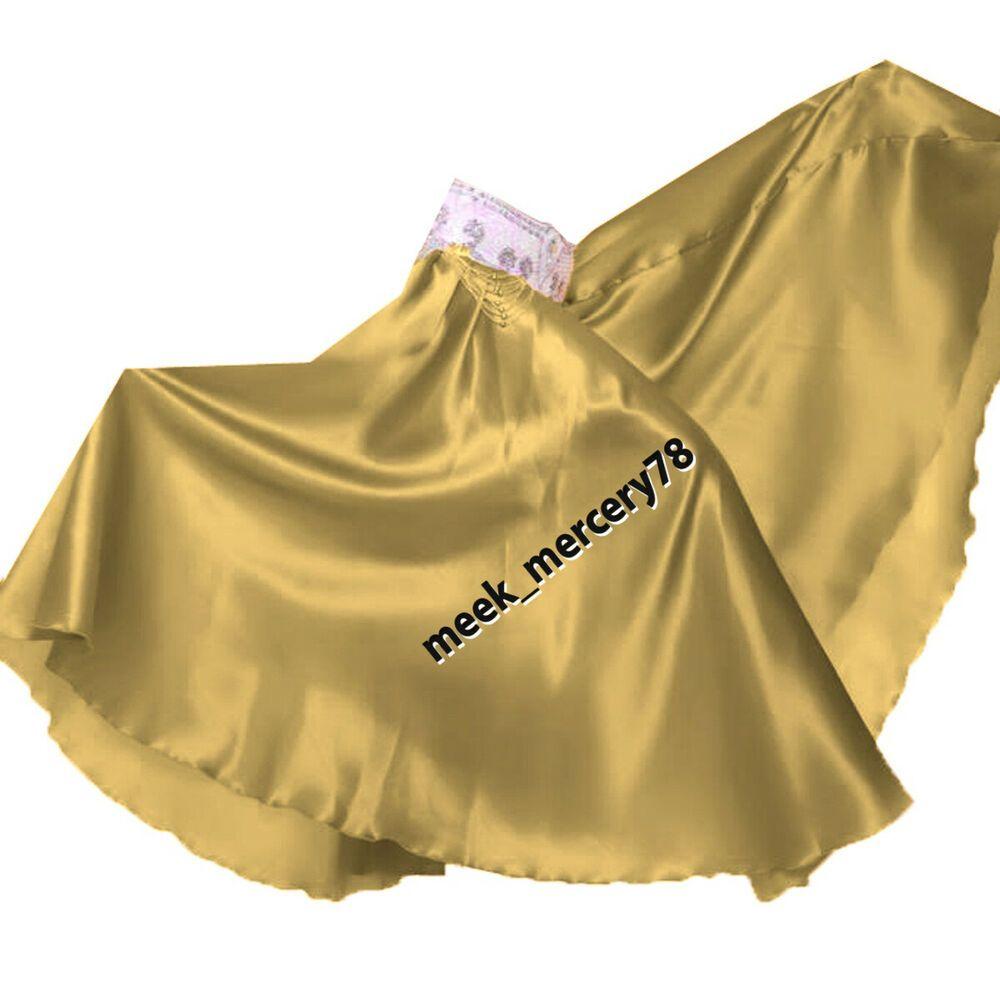 GOLD Women Satin Full Circle Skirt for Belly Dancing Costume Tribal Gypsy Skirt