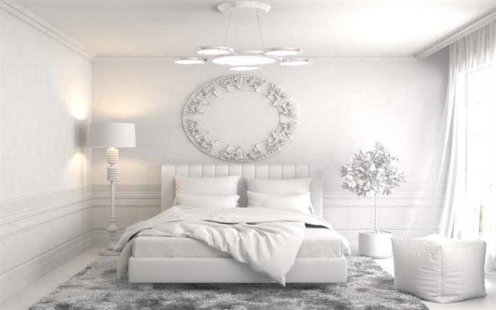 Herunterladen hintergrundbild ganz weiß stilvolle schlafzimmer, ein ...