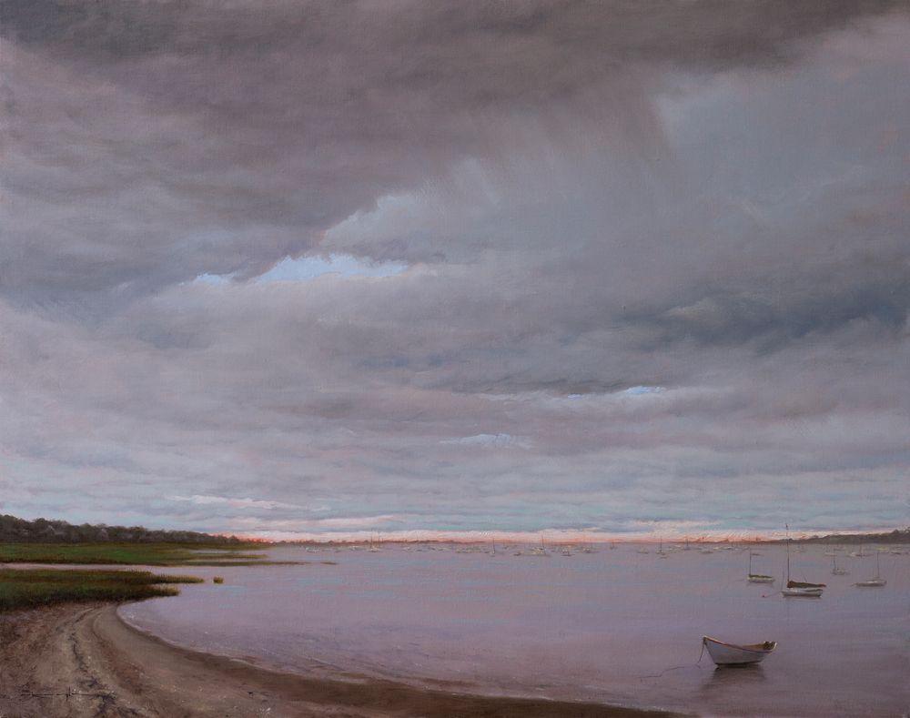 Passing Storm over Nantucket Harbor - Matthew 24:13 by Thomas Kegler, Oil on linen
