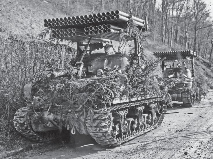 "The Rocket Launcher T34 (Calliope) was a tank-mounted multiple rocket launcher used by the United States Army during World War II. The launcher was placed atop the M4 Sherman, and fired a barrage of 4.5 in (114 mm) M8 rockets from 60 launch tubes. It was developed in 1943; small numbers were produced and were used by various US armor units in 1944-45. It adopts its name from the musical instrument ""Calliope"", also known as the steam organ, which had similarly lined pipes."