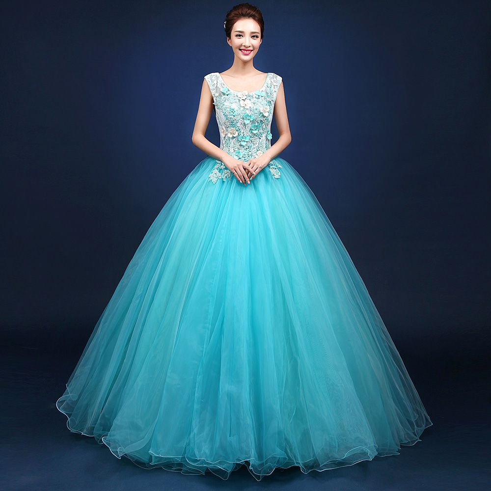 Vestido De Noiva New Fashion Sky Blue Lace Flower Sleeveless Square ...