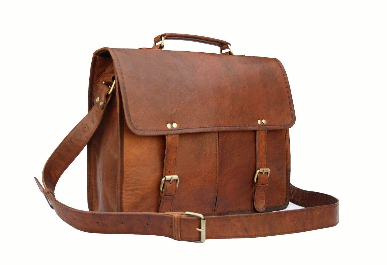 afad64f65bf3 Handmade15 inch Twin Pocket Leather Messenger Bag   Satchel   Laptop Bag   MacBook  Bag   Shoulder Bag - Vintage Retro Look.