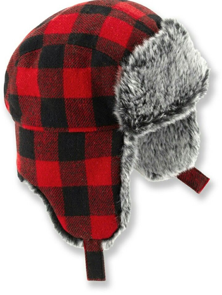 Buffalo Plaid Trapper Hat Red Bomber Winter Accessory Faux Fur Flannel
