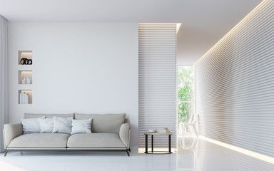 modern white living room interior 3d rendering image a blank wall