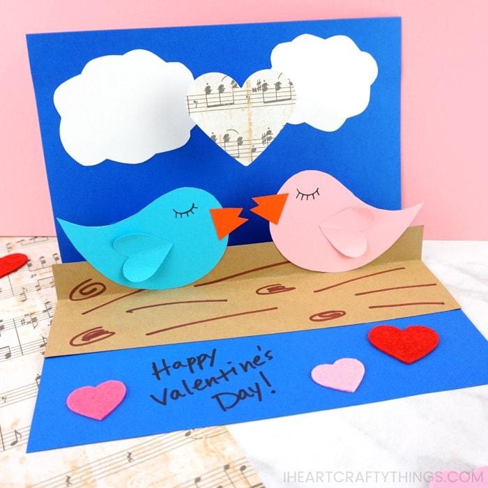 How To Make A Pop Up Love Birds Card Pop Up Card Templates Diy Pop Up Cards Rainbow Card