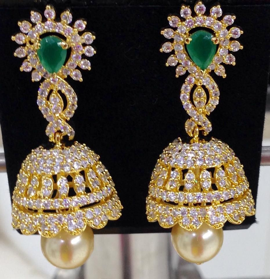 long CZ and green stones jhumkas with pearl drops Size 2